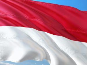 赤×白のインドネシア国旗。