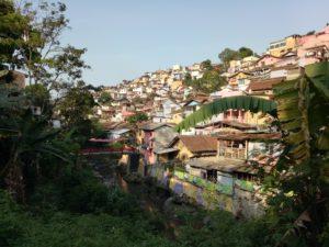 「虹の集落」には谷に沿うように家々がひしめいています。