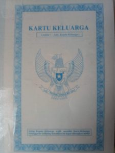 日本の戸籍謄本に該当するインドネシアの家族カード(KK)表紙(裏面)。