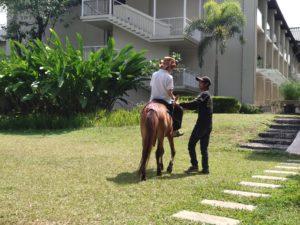 お泊り会のホテルでは乗馬タイムもあり(土日のみ)。スタッフの方にご指導を賜れば、子どもでもひとりで乗れるようになります。